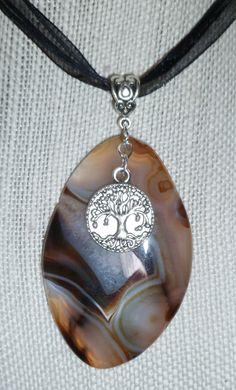Geode/onyx/agate protection Amulet, tibetan silver tree of life charm, organza ribbon
