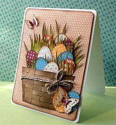 Happy Easter by - Cards and Paper Crafts at Splitcoaststampers - handmade card: Happy Easter … by … woven paper basket filled with die cut grass and - Easter Projects, Easter Crafts, Handmade Greetings, Greeting Cards Handmade, Diy Easter Cards, Handmade Easter Cards, Happy Easter Cards, Handmade Crafts, Card Tags
