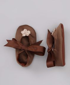 Take a look at this Tan & Brown Flower Satin Mary Jane by Truffles Ruffles on #zulily today!