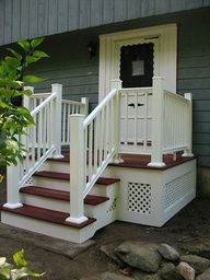 Build a front porch to cover over cement stairs.  @Michael Dussert Dussert Cavanaugh mayebe not so big, but this we can do!