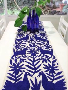 Cobalt Blue Hand Embroidered Otomi Table runner from Mexican Home Decor, Mexican Folk Art, Mantel Azul, Mexican Textiles, Mexican Embroidery, Mexico Style, Boho Home, Mexican Designs, Table Runners