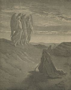 "1889, Noah And Angels, ""Bible Talks With Children"", Printed In The USA, Antique Print, illustrated by gustave dore"