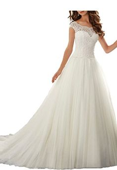Kittybridal Women's Lace Applique Chapel Train With Butto...