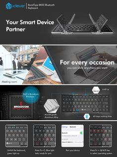 iClever Portable Folding Keyboard, Ultra Slim Pocket Size Bluetooth Keyboard Wireless with Carry Pouch, Premium Aluminum Alloy Housing, Designed for IOS Android Windows Better Typing, Silver (BK03)