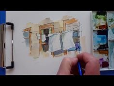 A quick and fun Watercolor Demonstration. Laundry Shadows. - YouTube
