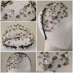Hermione Harbutt bespoke Tallulah crystal headdress in grey tone Swarovski crystals. https://www.hermioneharbutt.com/wedding/hair_accessories/buy.php?Product=242&Title=Tallulah+Crystal+Headdress