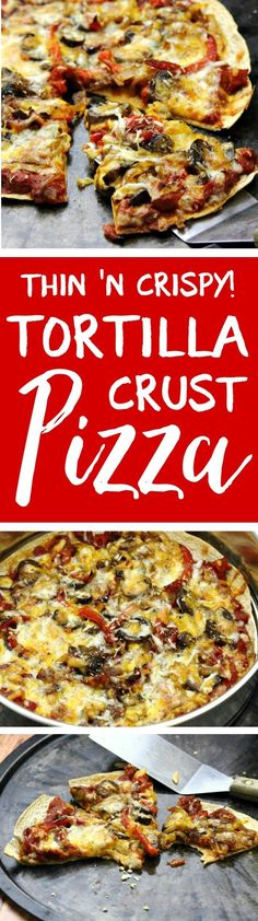 Pizza We make these at least once a week! Thin and crispy tortilla crust pizzas are the perfect way to get your pizza fix QUICK, with a fraction of the fat, carbs and calories. Works great with dairy-free cheese! Breakfast Pizza Healthy, Breakfast For Dinner, Healthy Snacks, Healthy Eating, Healthy Recipes, Free Breakfast, Diabetic Recipes, Healthy Cooking, Keto Recipes