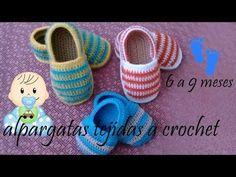 alpargatas para bebe tejidas a crochet - YouTube
