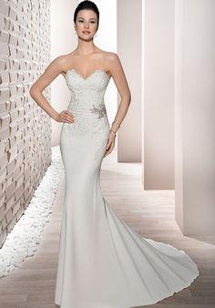 Strapless Crepe Sheath Wedding Dress | Style 699 by Demetrios |  http://trib.al/q4BnyOS