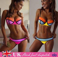 UK-Beach-Triangle-Bandage-Strings-Style-Top-Bikini-Set-Swimwear-Padded