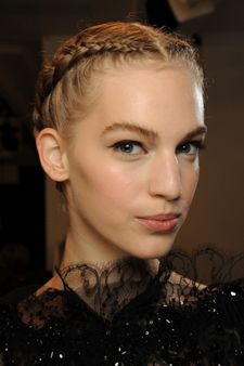 Stunning double french braids on show at the Elie Saab Couture Fall 2012 show courtesy of HJI www.hji.co.uk