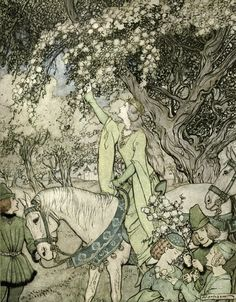 How Queen Guenevere rode a-Maying into the woods and fields beside Westminster.  Illustration by Arthur Rackham for The Romance of King Arthur and his Knights of the Round Table (1917).