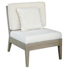 Teak wood occasional chair in gray with a slatted rattan back and neutral cushions.   Product: ChairConstruction Mate...