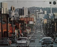 Pittsburgh from North Side before Allegheny Center cut the neighborhood in pieces. Best Places To Live, Oh The Places You'll Go, Old Pictures, Old Photos, Pittsburgh City, Pittsburgh Neighborhoods, The 'burbs, Best Cities, Street