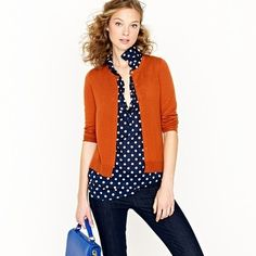 dark blue polka dot blouse +jeans + fall color sweater