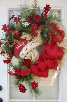 A warm welcome full of charm......what more would you want hung on your door this holiday season!    This a beautiful one of a kind red and tan