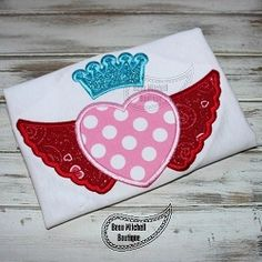 Heart Wings Crown Applique - 4 Sizes! | What's New | Machine Embroidery Designs | SWAKembroidery.com Beau Mitchell Boutique