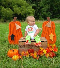 Chuncky Pumpkin Fall/Halloween/Thanksgiving by belovedbows on Etsy, $22.50