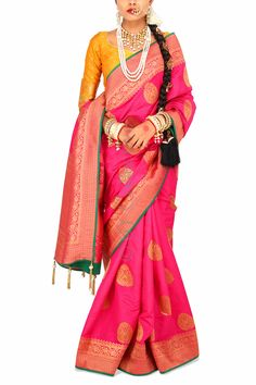 Devasena Pink Brocade Sari with Mustard (Code - S1704) Price: INR 6790 To shop visit: http://6ycollective.com/products/S1704/