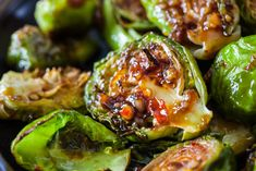 Roasted Brussels Sprouts with Sweet Chili Sauce Recipe Side Dishes with brussels sprouts, cooking oil, garlic cloves, fish sauce, sweet chili sauce