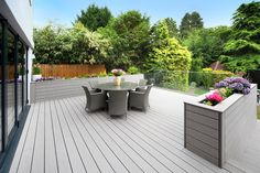Composite decking for beautiful outdoor spaces. Browse TimberTech's range of low-maintenance composite decking boards. Garden Furniture, Outdoor Furniture Sets, Outdoor Decor, Deck Design, Garden Design, Decking Area, Wpc Decking, Decking Boards, Deck Planters