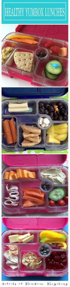 Healthy kid lunch ideas using the Yumbox lunch box container bento. Some will fit a sandwich. Other small sizes are for yogurt and treats.