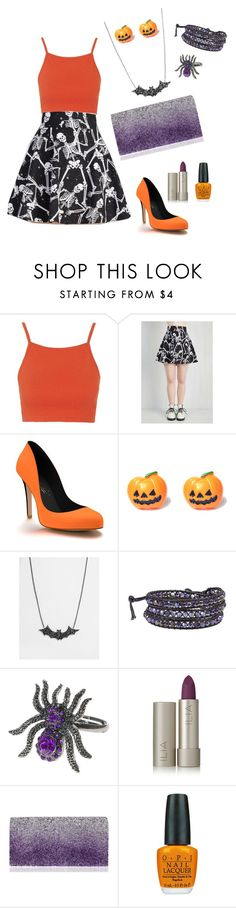 """All Hallow's Eve"" by elhemma ❤ liked on Polyvore featuring Topshop, Shoes of Prey, Suzywan DELUXE, AeraVida, Ilia, Nina and OPI"