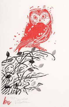 Saw-Whet Valentine - Woodblock & Linocut by Holly Meade 2011