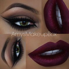 deep berry lips, cat eye with double winged eyeliner on both inner + outer corner | dramatic but neutral evening makeup @amysmakeupbox