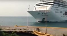 Cruise Ship Comes In Way Too Hot, Crashes Through Dock