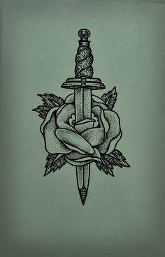 Flower Dagger Tattoo by Guilherme Hass, via Behance