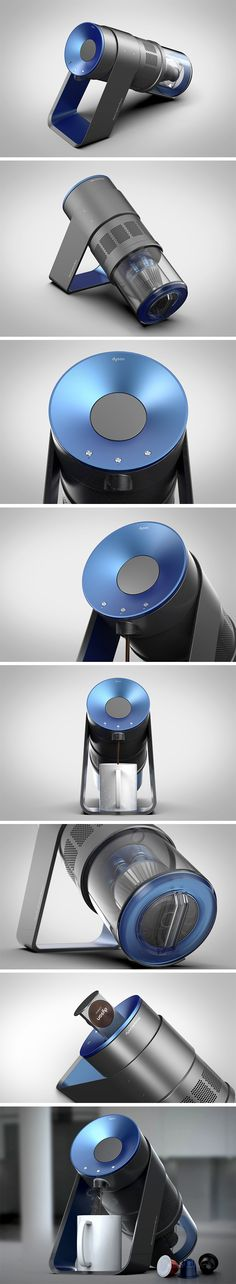 This concept explores what we might expect from the dominating vacuum brand Dyson if they ventured into the world of kitchen appliances. Those familiar with the existing product line will recognize a similar design language in the chamber, lining, vent holes and even translucent sections (where the fan would be) that now displays the water reservoir.