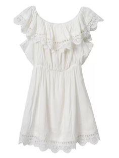 White Lace Frill Off Shoulder Elastic Waist Dress   Choies