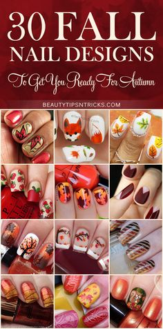 Feast your eyes on this huge collection of Fall Nail Art Ideas! 30 gorgeous…
