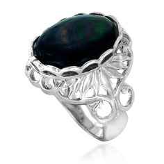 Rhodium Plated 925 Sterling Silver Black Shell Intricate Leaf Statement Ring -- Read more  at the image link. (This is an Amazon Affiliate link and I receive a commission for the sales)