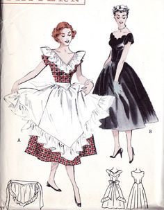 1950s Swirl Skirt Dress with Apron Vintage Sewing Patterns