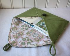 Handmade fabric envelope    so cute! maybe hand stitch an address on it and send to a friend in the mail