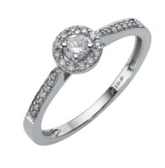 688d54a64 9ct white gold quarter carat diamond cluster ring - Ernest Jones Buying An  Engagement Ring,