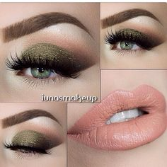 Olive Green & Peach Eyes & Lip Look