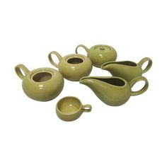 Russel Wright Modernist Pottery Piece Set Chartreuse Steubenville  Sugar Creamer Demi cup more by welovelucite on Etsy https://www.etsy.com/listing/256126040/russel-wright-modernist-pottery-piece