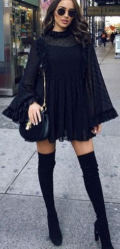 #winter #outfits Black Lace Dress // Black Shoulder Bag // Velvet Over The Knee Boots