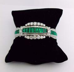 Platinum Diamond Emerald Bracelet 6 1/2'' | eBay