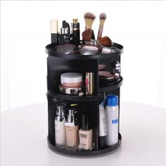 Manafun 360 Rotating Makeup Organizer, DIY Adjustable Cosmetics Carousel Spinning Holder Storage Rack Large Capacity Make up Shelf Skin Care Product Organizer Box (Black) Cosmetic Items, Cosmetic Storage, Makeup Storage, Cosmetic Case, Jewelry Organization, Storage Organization, Storage Rack, Storage Ideas, Cosmetic Display