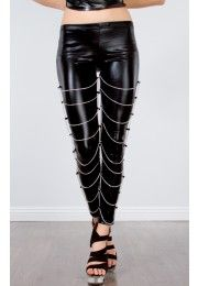 Leatherette Chained Leggings BLACK SILVER I want these...