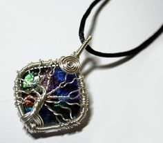 Wire Wrap Fused Dichroic Art Glass Tree of Life Pendant ... One of a kind!
