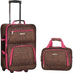 Rockland Luggage Rio 2 Piece Carry On Luggage Set Pink Leopard - Rockland Luggage Luggage Sets Best Luggage, Luggage Sets, Travel Luggage, Travel Bags, Luggage Suitcase, Hand Luggage, Travel Trip, Brown Leopard, Pink Leopard