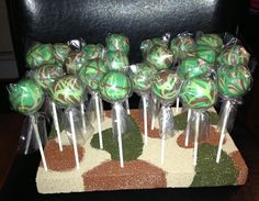 Camo cake pops and base that I made for my friend's sons birhtday party Kids Birthday Themes, Sons Birthday, Camouflage Party, Cake Pop Displays, Tower Stand, Cakepops, Custom Cakes, Cupcake Cakes, Cake Decorating
