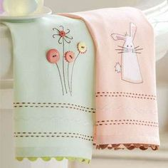 Bunnys and buttons... embellished towel - how pretty!
