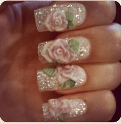 Acrylic 3D rose nails