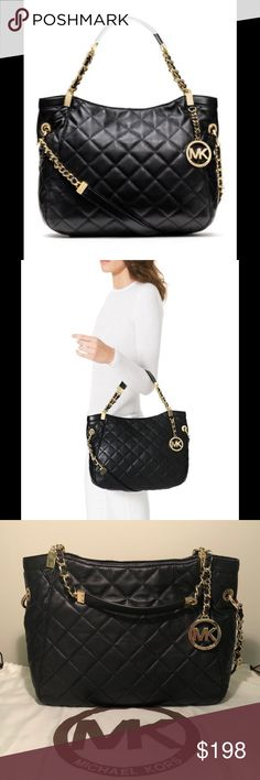 Michael Kors Susannah tote black quilted leather Michael Kors Susannah tote. Quilted black leather. NWT. NEVER CARRIED. Original stuffing is intact! Comes with dustbag and leather care card. Gold & black hardware. Purchased but never carried. PERFECT CONDITION!! Michael Kors Bags Shoulder Bags